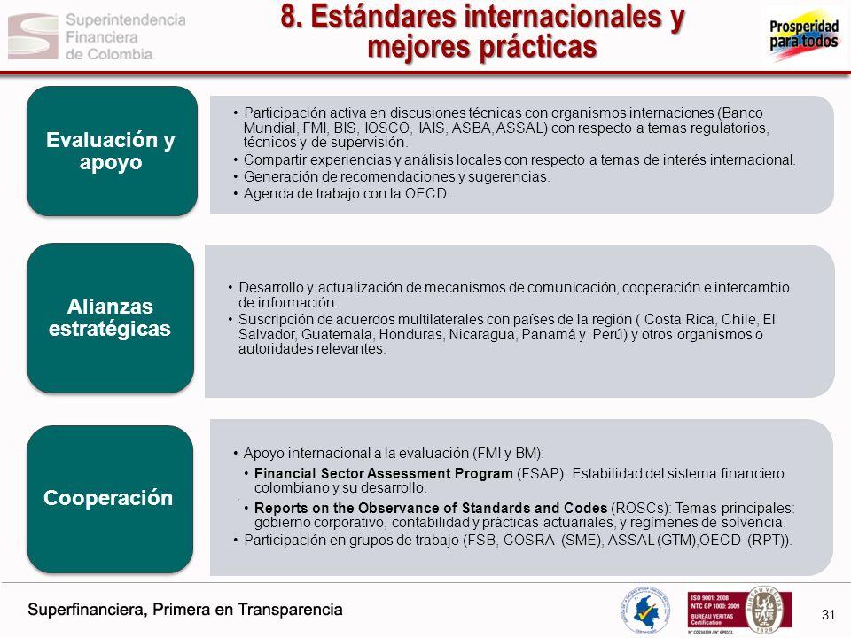 8. Estándares internacionales y mejores prácticas