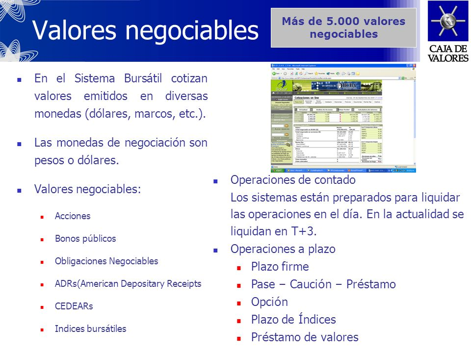 Más de valores negociables. Valores negociables.