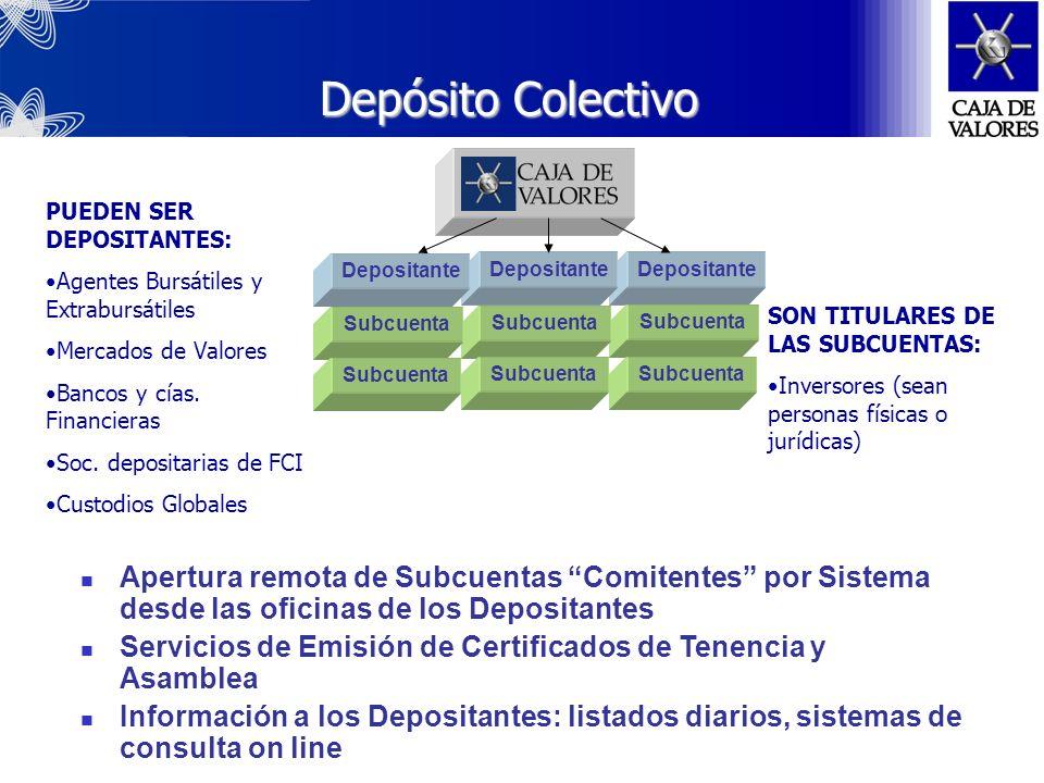 Depósito ColectivoPUEDEN SER DEPOSITANTES: Agentes Bursátiles y Extrabursátiles. Mercados de Valores.