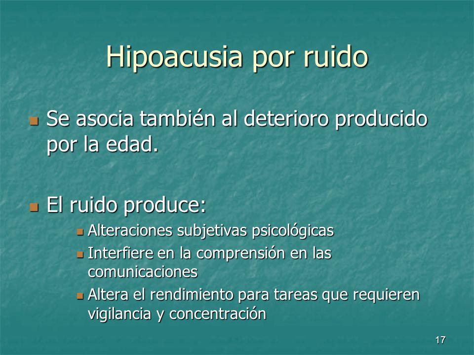Hipoacusia por ruido Se asocia también al deterioro producido por la edad. El ruido produce: Alteraciones subjetivas psicológicas.