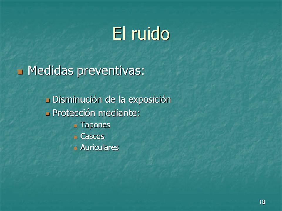 El ruido Medidas preventivas: Disminución de la exposición