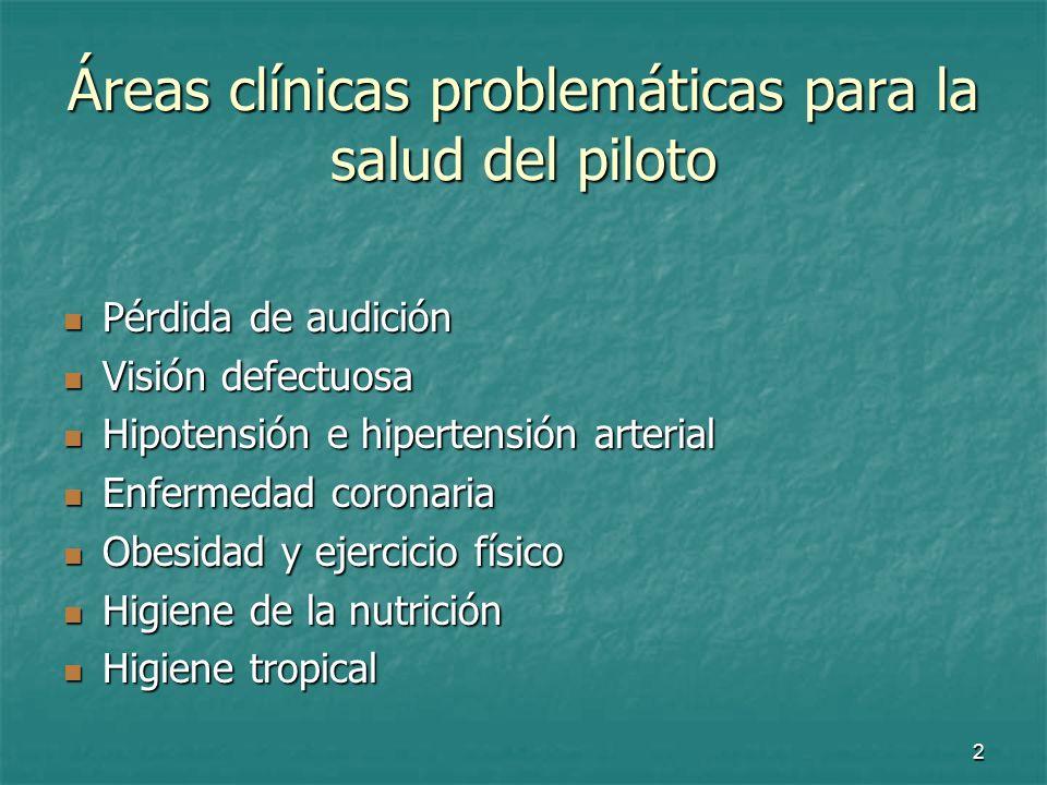 Áreas clínicas problemáticas para la salud del piloto