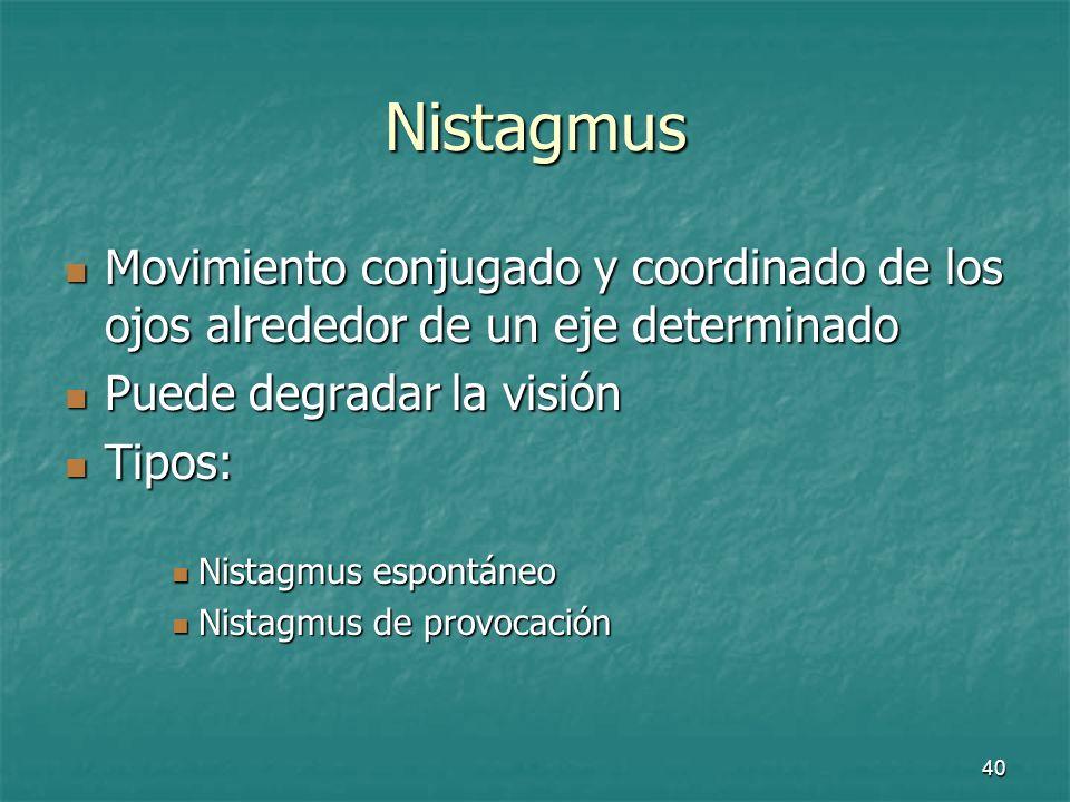 Nistagmus Movimiento conjugado y coordinado de los ojos alrededor de un eje determinado. Puede degradar la visión.