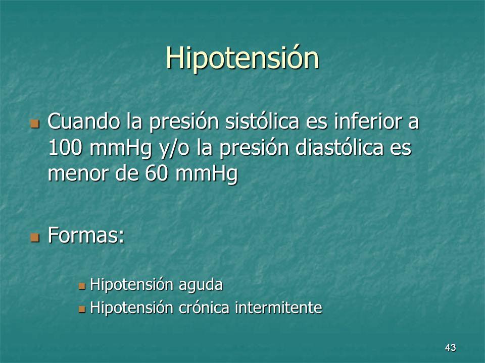 Hipotensión Cuando la presión sistólica es inferior a 100 mmHg y/o la presión diastólica es menor de 60 mmHg.