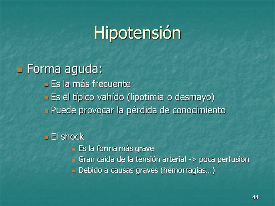 Hipotensión Forma aguda: Es la más frecuente