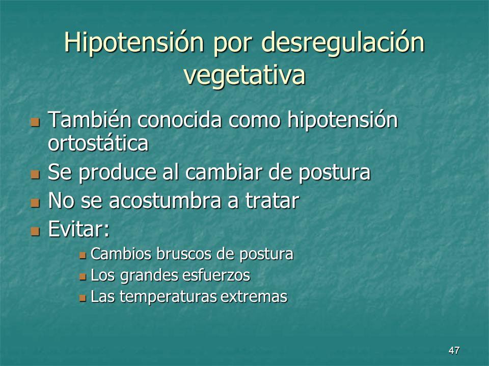 Hipotensión por desregulación vegetativa
