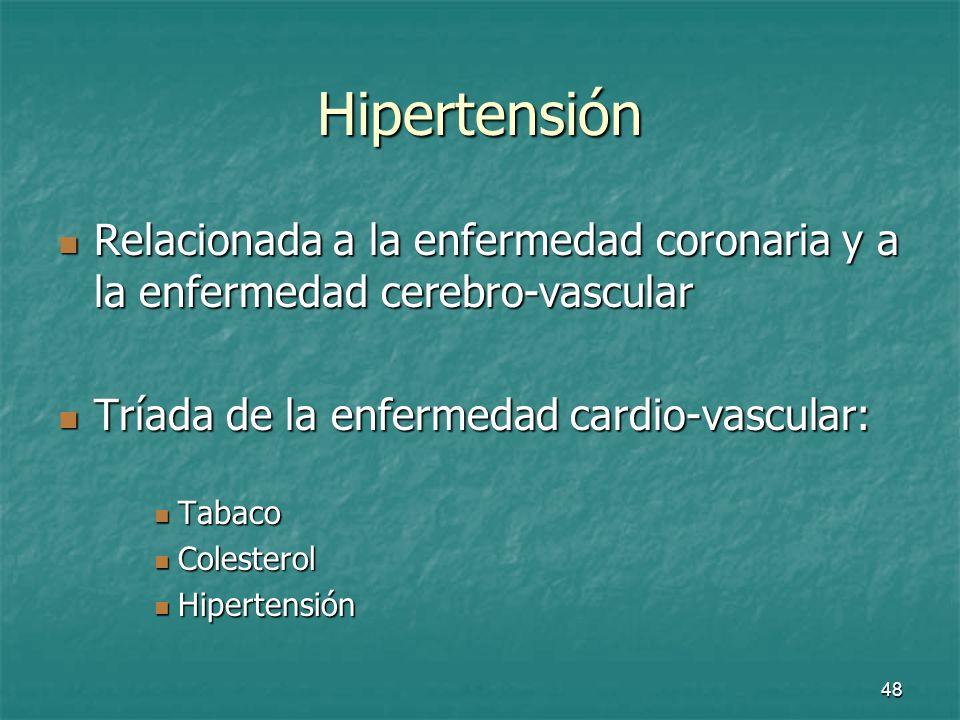 Hipertensión Relacionada a la enfermedad coronaria y a la enfermedad cerebro-vascular. Tríada de la enfermedad cardio-vascular: