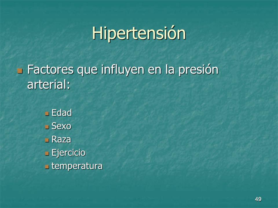 Hipertensión Factores que influyen en la presión arterial: Edad Sexo