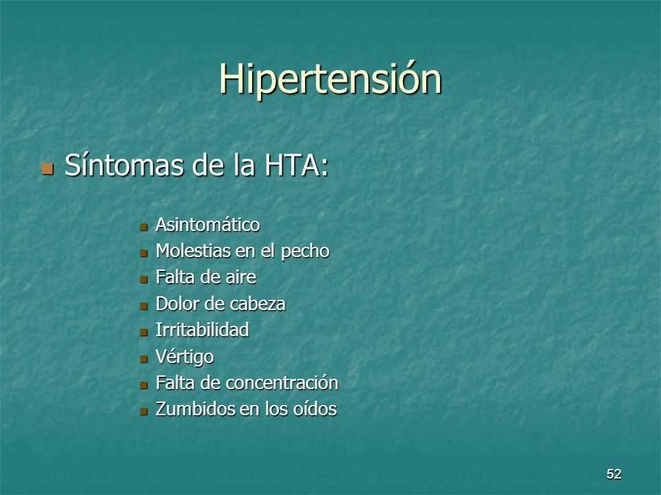 Hipertensión Síntomas de la HTA: Asintomático Molestias en el pecho