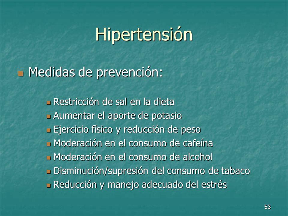 Hipertensión Medidas de prevención: Restricción de sal en la dieta