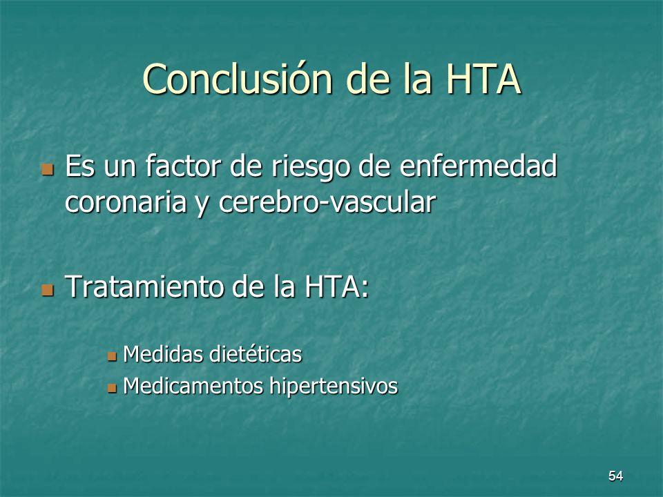 Conclusión de la HTA Es un factor de riesgo de enfermedad coronaria y cerebro-vascular. Tratamiento de la HTA: