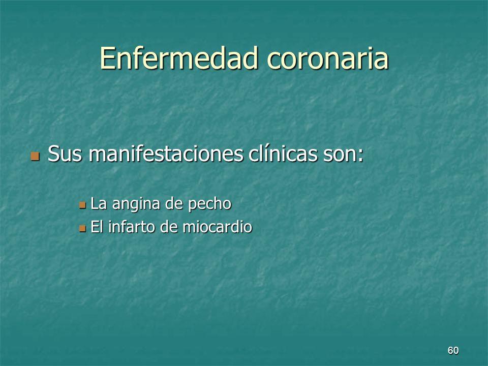 Enfermedad coronaria Sus manifestaciones clínicas son: