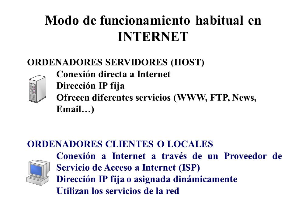 Modo de funcionamiento habitual en INTERNET