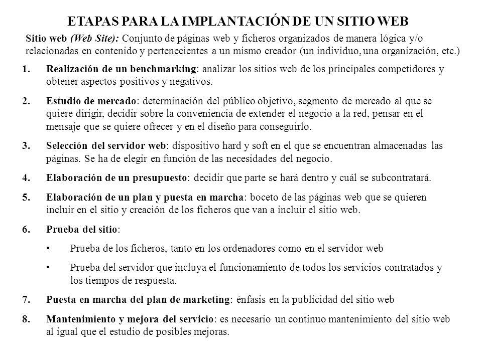ETAPAS PARA LA IMPLANTACIÓN DE UN SITIO WEB