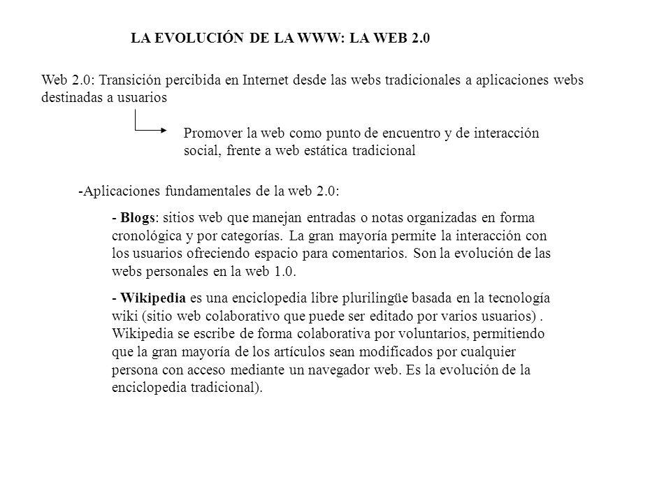 LA EVOLUCIÓN DE LA WWW: LA WEB 2.0