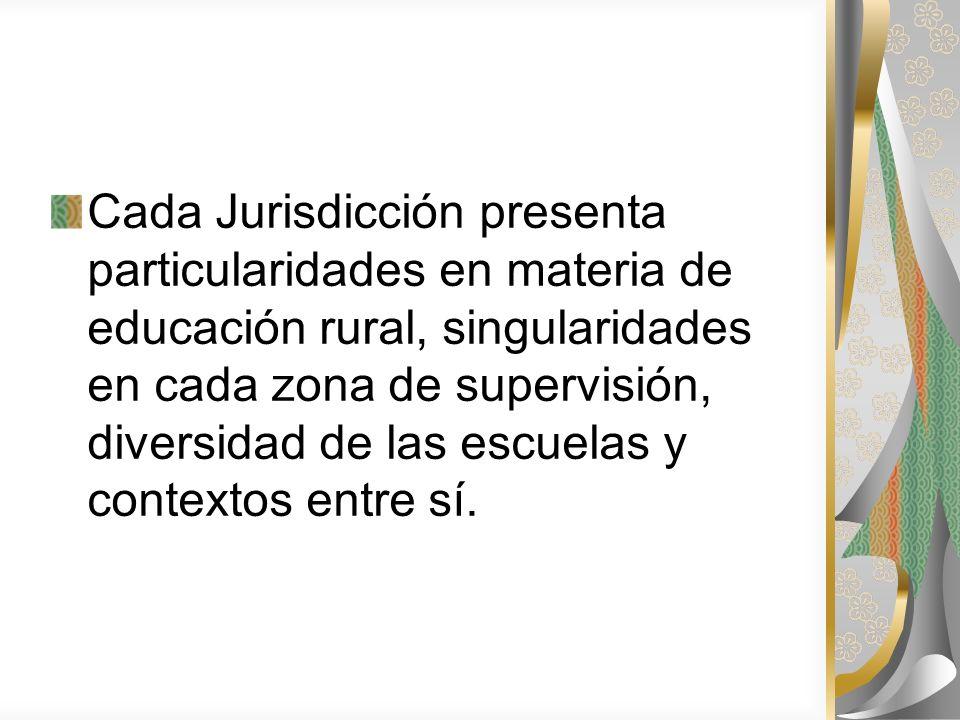 Cada Jurisdicción presenta particularidades en materia de educación rural, singularidades en cada zona de supervisión, diversidad de las escuelas y contextos entre sí.