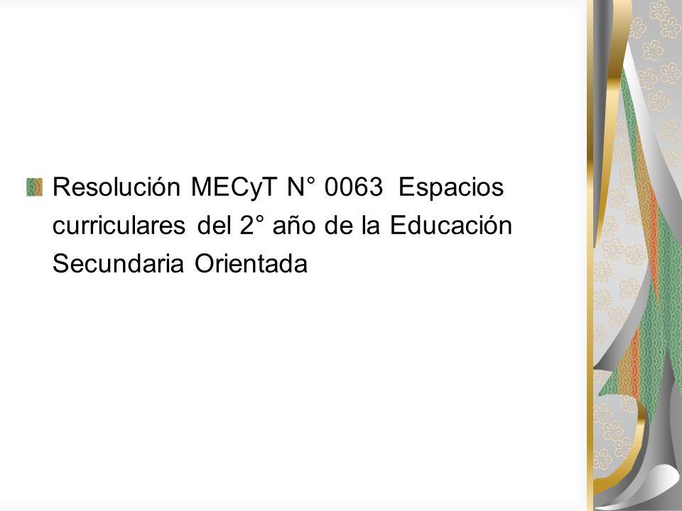 Resolución MECyT N° 0063 Espacios curriculares del 2° año de la Educación Secundaria Orientada