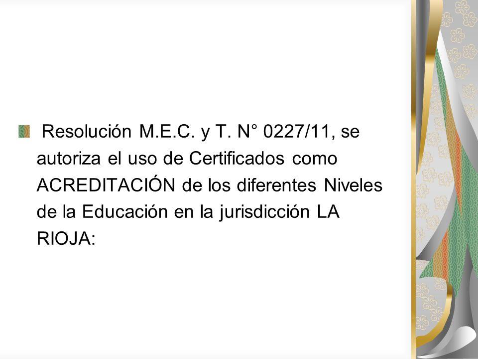 Resolución M.E.C.y T.