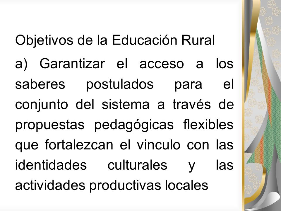 Objetivos de la Educación Rural