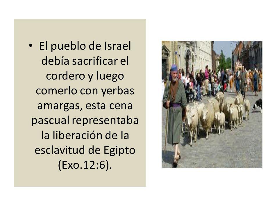 El pueblo de Israel debía sacrificar el cordero y luego comerlo con yerbas amargas, esta cena pascual representaba la liberación de la esclavitud de Egipto (Exo.12:6).