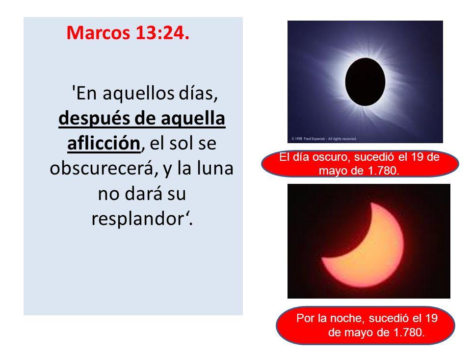 Marcos 13:24. En aquellos días, después de aquella aflicción, el sol se obscurecerá, y la luna no dará su resplandor'.