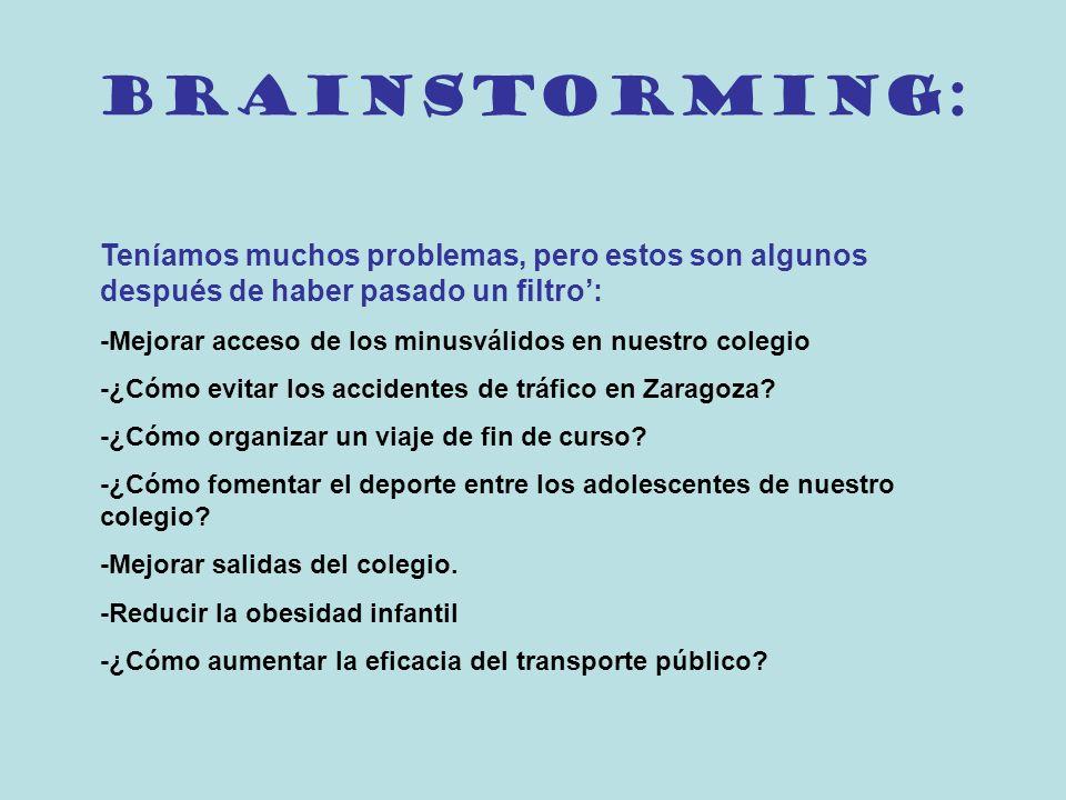 Brainstorming: Teníamos muchos problemas, pero estos son algunos después de haber pasado un filtro':