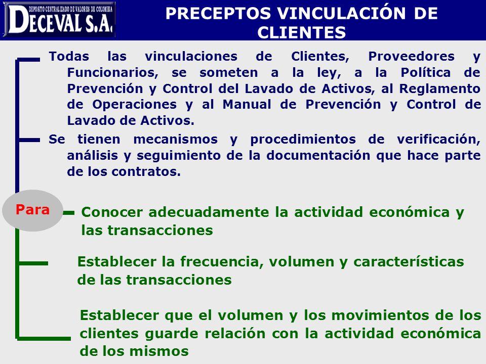 PRECEPTOS VINCULACIÓN DE CLIENTES