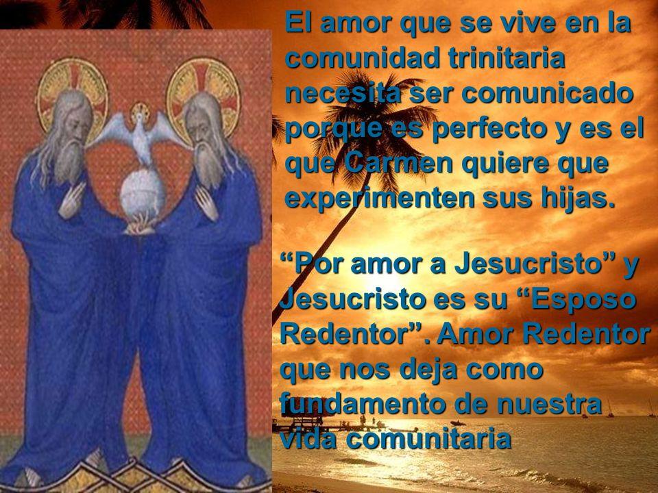 El amor que se vive en la comunidad trinitaria necesita ser comunicado porque es perfecto y es el que Carmen quiere que experimenten sus hijas.