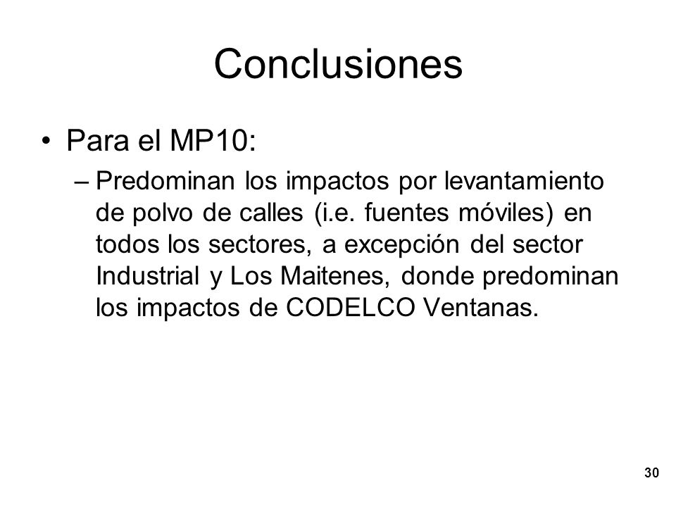 Conclusiones Para el MP10: