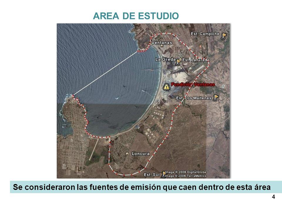 AREA DE ESTUDIO Se consideraron las fuentes de emisión que caen dentro de esta área