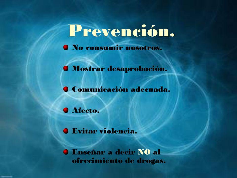 Prevención. No consumir nosotros. Mostrar desaprobación.