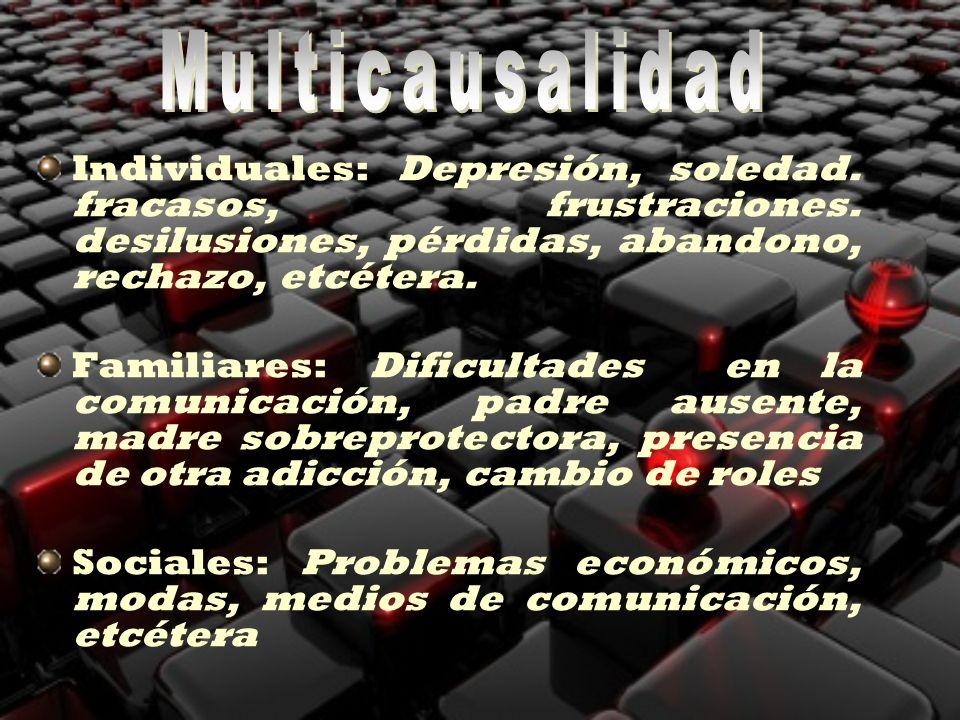 Multicausalidad Individuales: Depresión, soledad. fracasos, frustraciones. desilusiones, pérdidas, abandono, rechazo, etcétera.