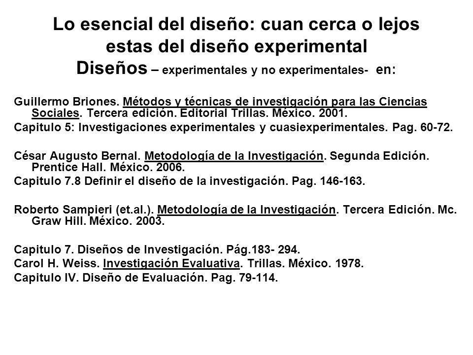 Diseños – experimentales y no experimentales- en:
