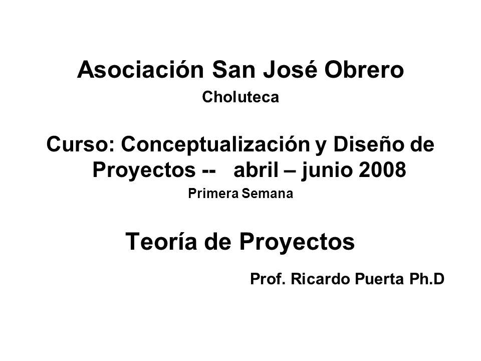 Asociación San José Obrero Teoría de Proyectos