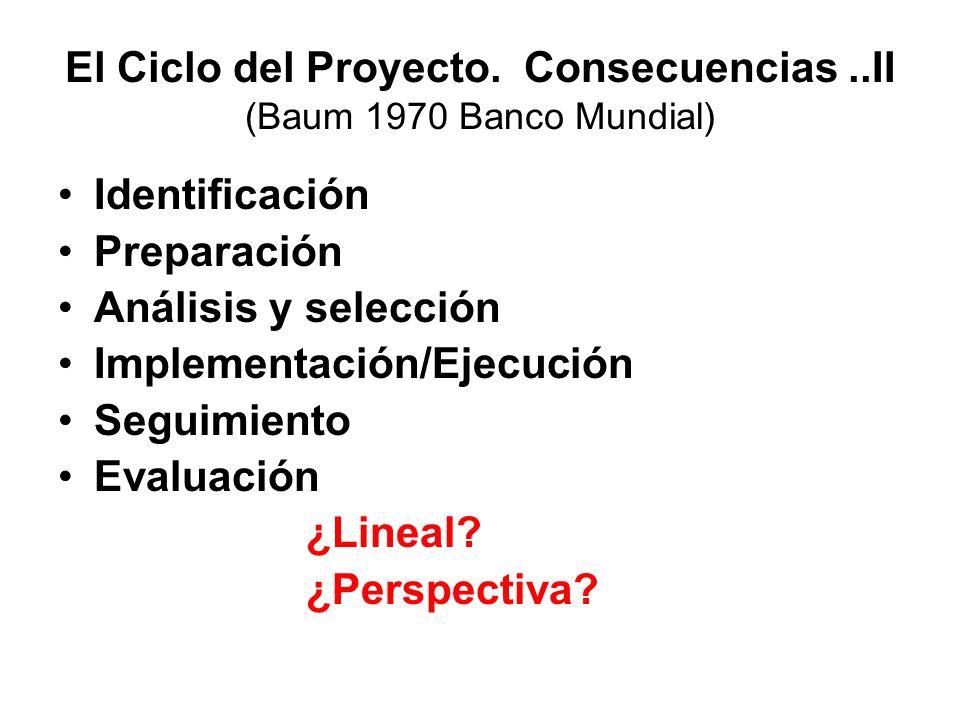 El Ciclo del Proyecto. Consecuencias ..II (Baum 1970 Banco Mundial)