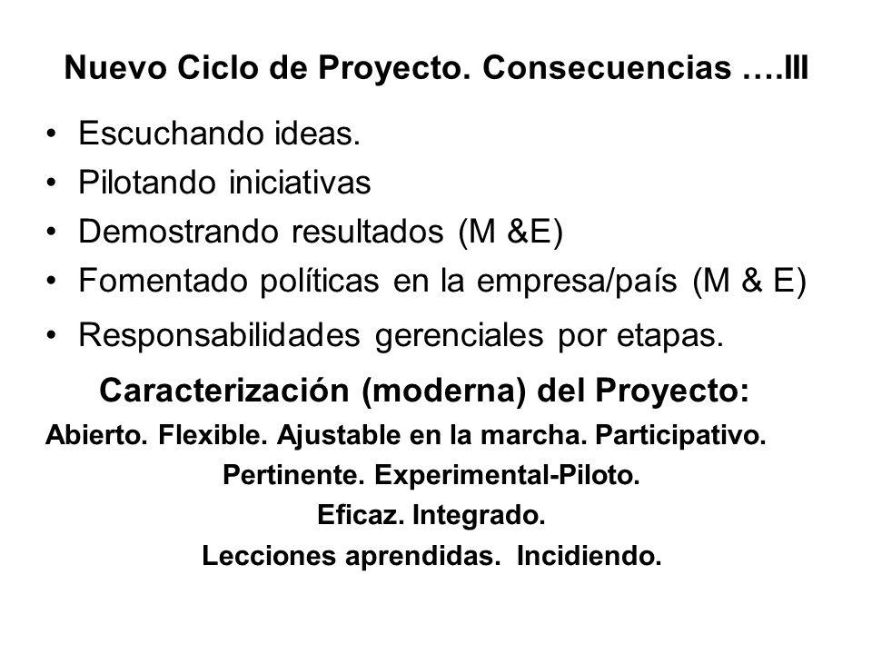 Nuevo Ciclo de Proyecto. Consecuencias ….III
