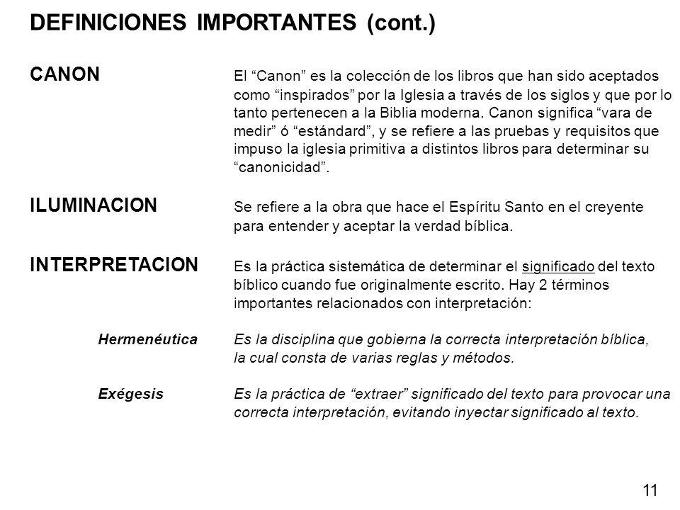 DEFINICIONES IMPORTANTES (cont.)