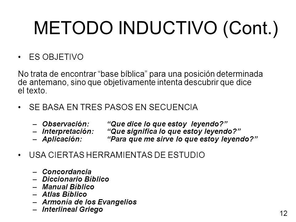 METODO INDUCTIVO (Cont.)