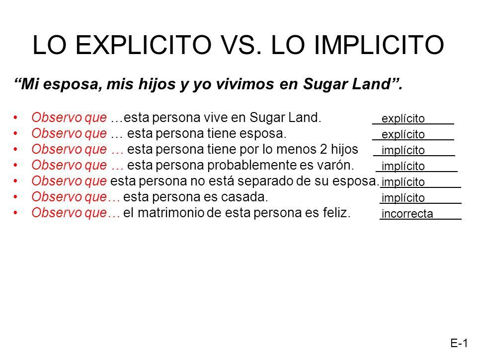 LO EXPLICITO VS. LO IMPLICITO