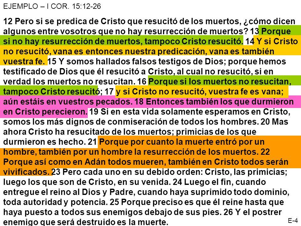 EJEMPLO – I COR. 15:12-26