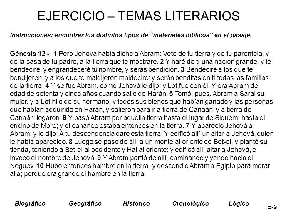 EJERCICIO – TEMAS LITERARIOS