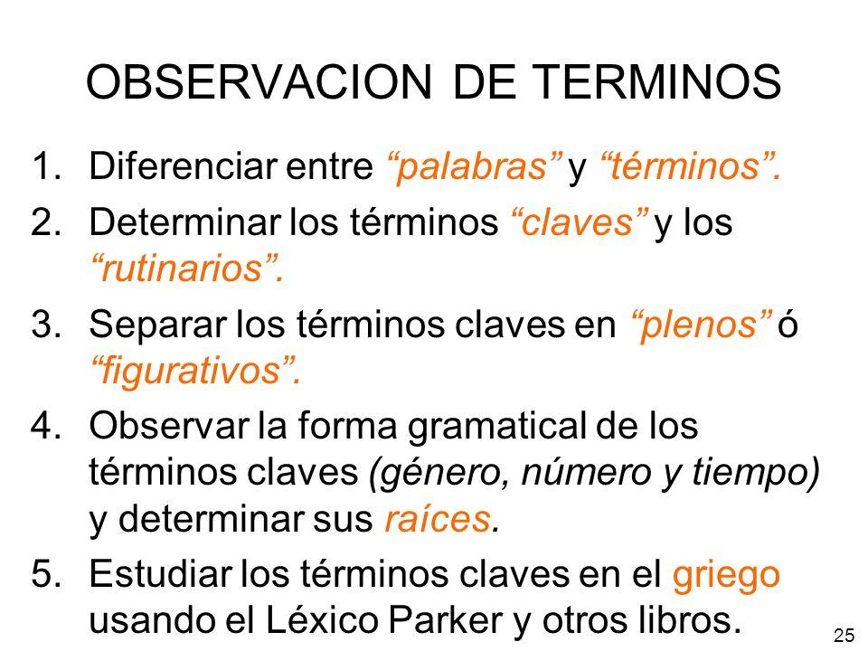 OBSERVACION DE TERMINOS