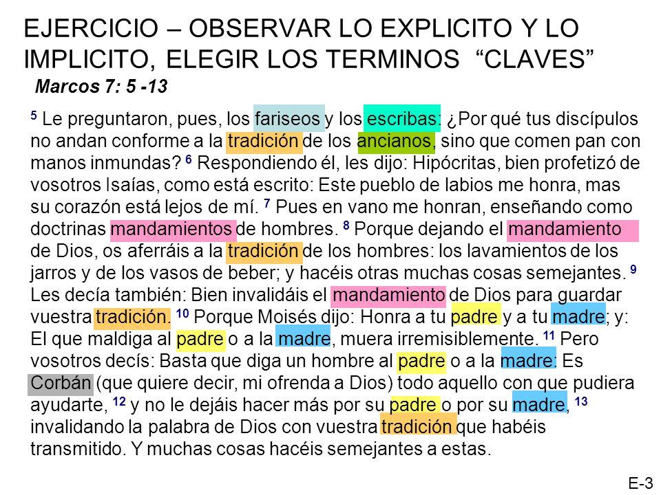 EJERCICIO – OBSERVAR LO EXPLICITO Y LO IMPLICITO, ELEGIR LOS TERMINOS CLAVES