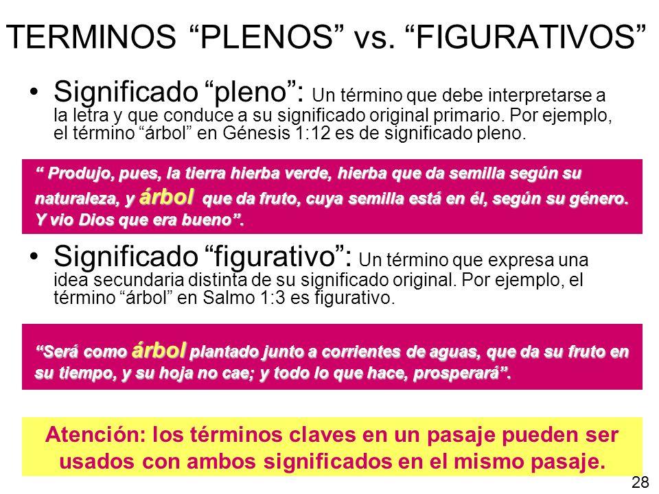 TERMINOS PLENOS vs. FIGURATIVOS