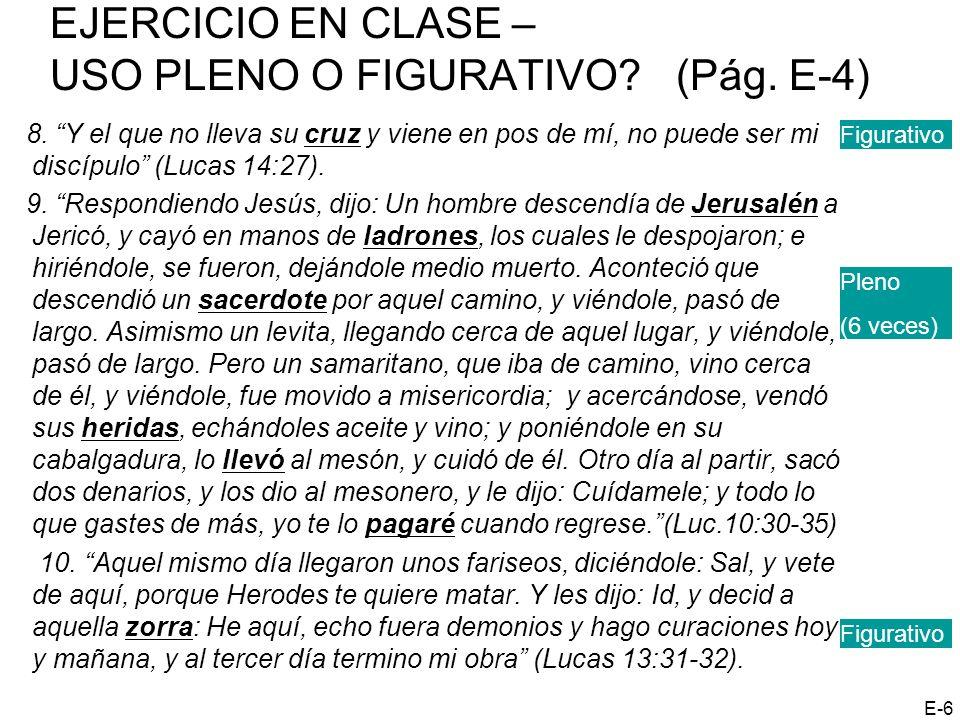 EJERCICIO EN CLASE – USO PLENO O FIGURATIVO (Pág. E-4)