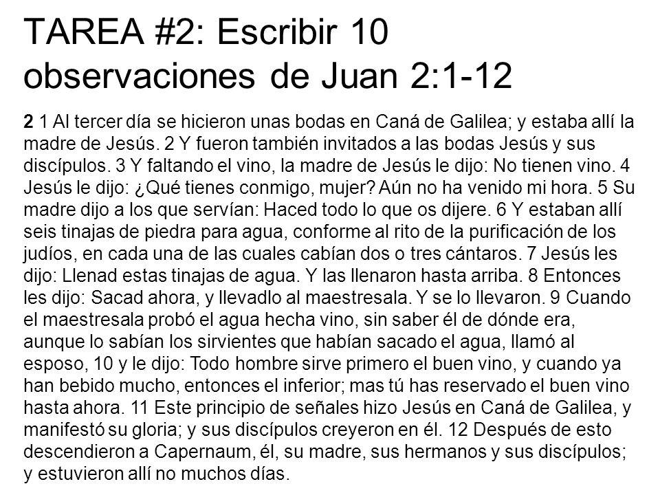 TAREA #2: Escribir 10 observaciones de Juan 2:1-12