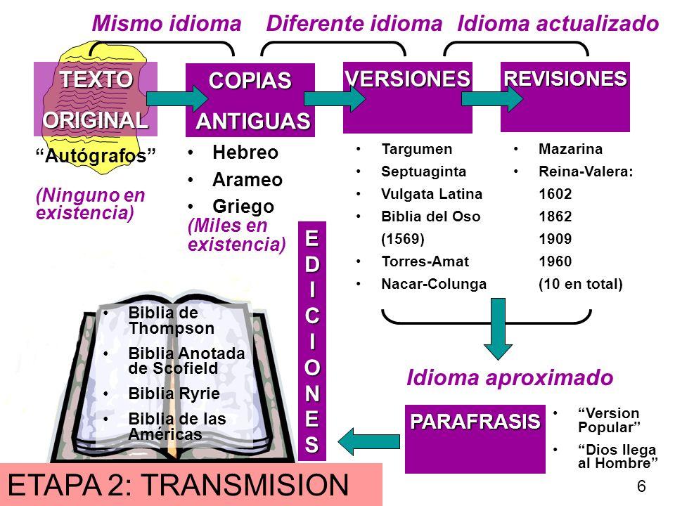 ETAPA 2: TRANSMISION Mismo idioma Diferente idioma Idioma actualizado