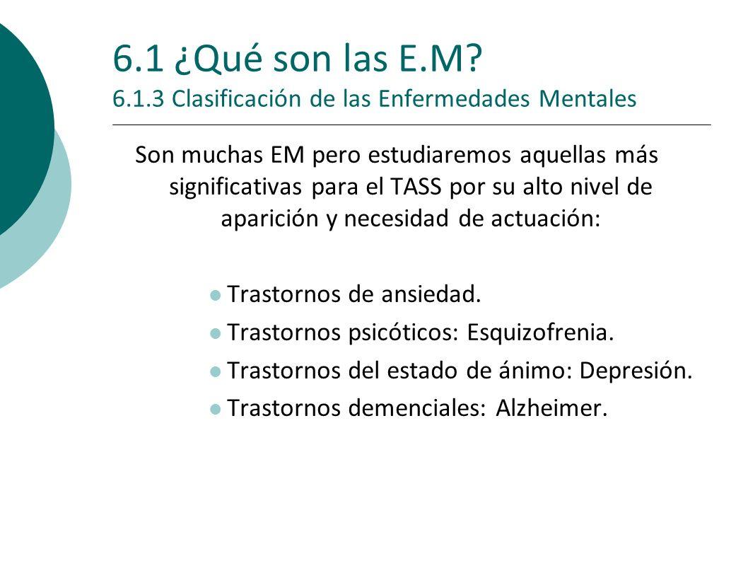 6.1 ¿Qué son las E.M 6.1.3 Clasificación de las Enfermedades Mentales