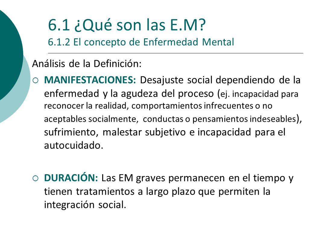 6.1 ¿Qué son las E.M 6.1.2 El concepto de Enfermedad Mental