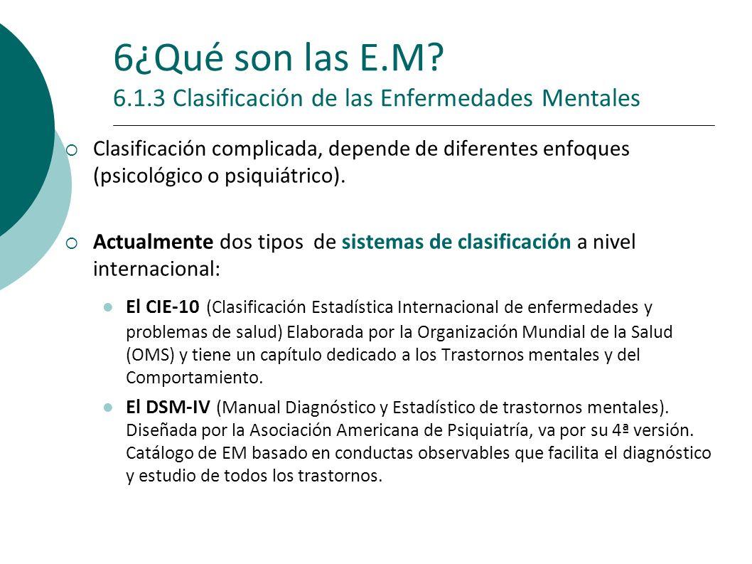 6¿Qué son las E.M 6.1.3 Clasificación de las Enfermedades Mentales